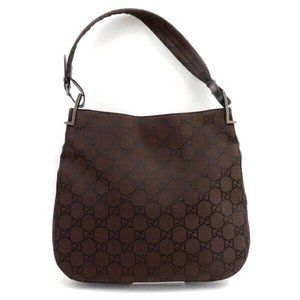 Auth Gucci Shoulder Bag Brown Leather #6294G72